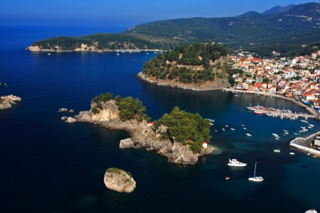 AERIAL VIEW OF GREEK ISLAND PARGA