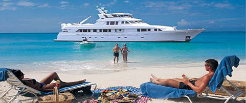 ENJOYING BEACH WATER SPORTS FROM CARIBBEAN MOTORYACHT