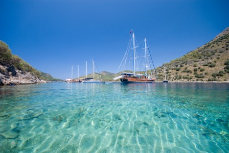 CRYSTAL CLEAR ANCHORAGE ON TURKISH MEDITERRANEAN COASTLINE