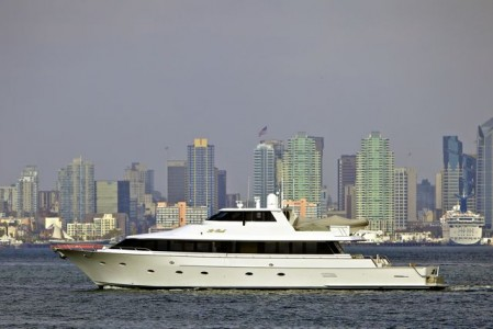 98' Westport Motoryacht HI BALL cruising San Diego Bay
