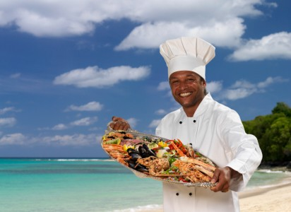 Caribbean Cuisine. St. Maartin, St. Barths, St. Barts, Virgin Islands, Chef, Beach