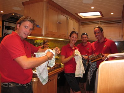 SAILING YACHT MARIE - HAPPY CREW SHARING GALLEY DUTY