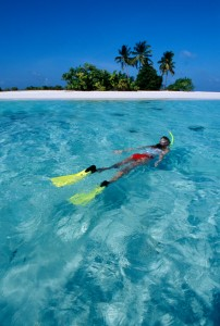 Maldives, Yacht Charter, Boat Vacation, snorkelling in a tropical sea